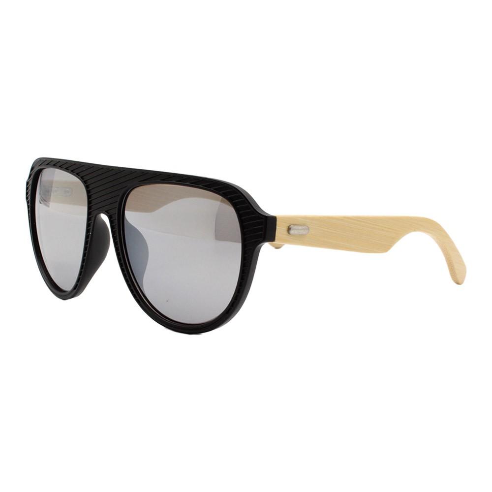 Óculos Solar Masculino Primeira Linha ZMJ1049 Prata Espelhado com Hastes de Bambu
