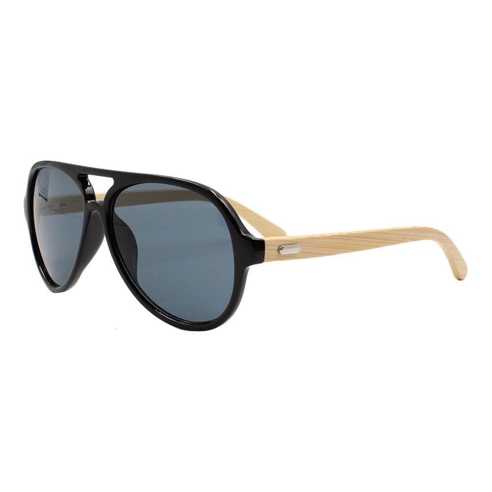 Óculos Solar Masculino Primeira Linha ZMJ1249 Preto com Hastes de Bambu