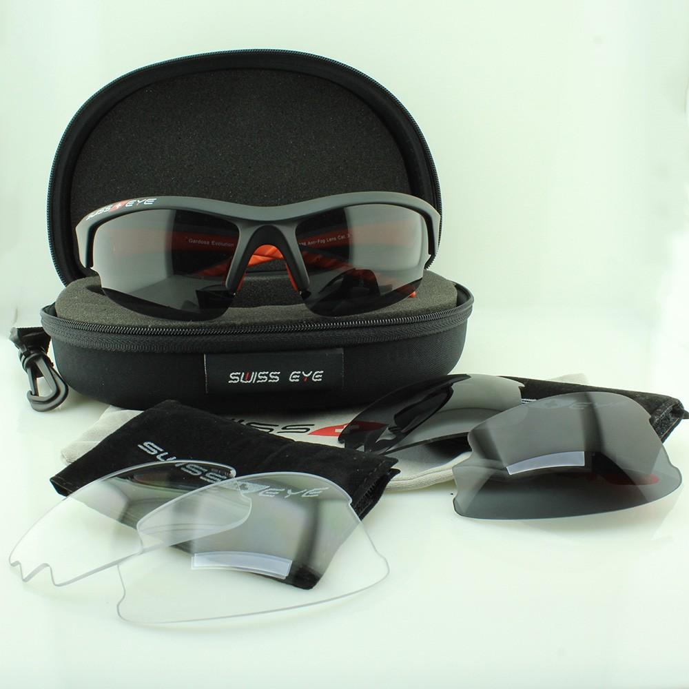 Óculos Solar Unissex para Ciclismo com 3 Lentes Anti-Fog 12112 Preto e Vermelho com Estojo