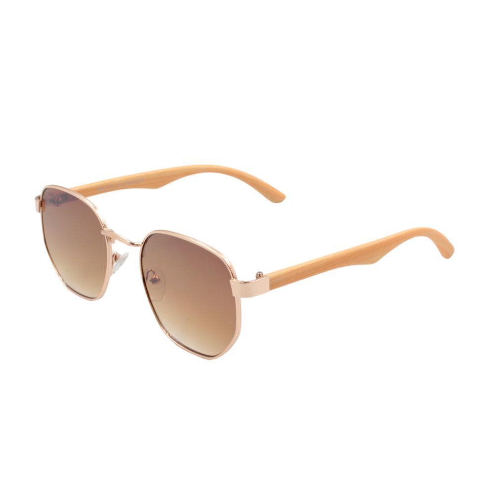Óculos Solar Unissex Primeira Linha DOZ71151-C3 Dourado e Marrom com Hastes de Bambu