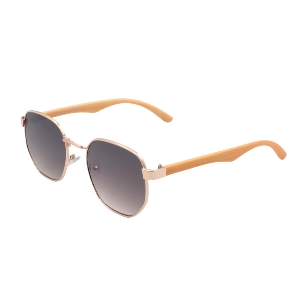 Óculos Solar Unissex Primeira Linha DOZ71151 Dourado e Preto com Hastes de Bambu