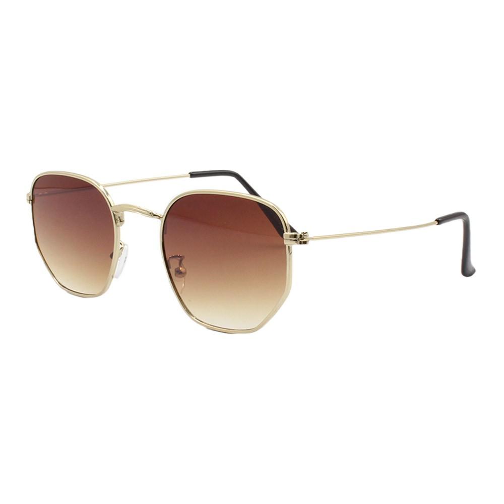 Óculos Solar Unissex Primeira Linha H02205 Dourado e Marrom