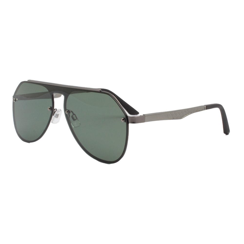 Óculos Solar Unissex Primeira Linha Polarizado 88027 Grafite e Verde com Hastes de Alumínio