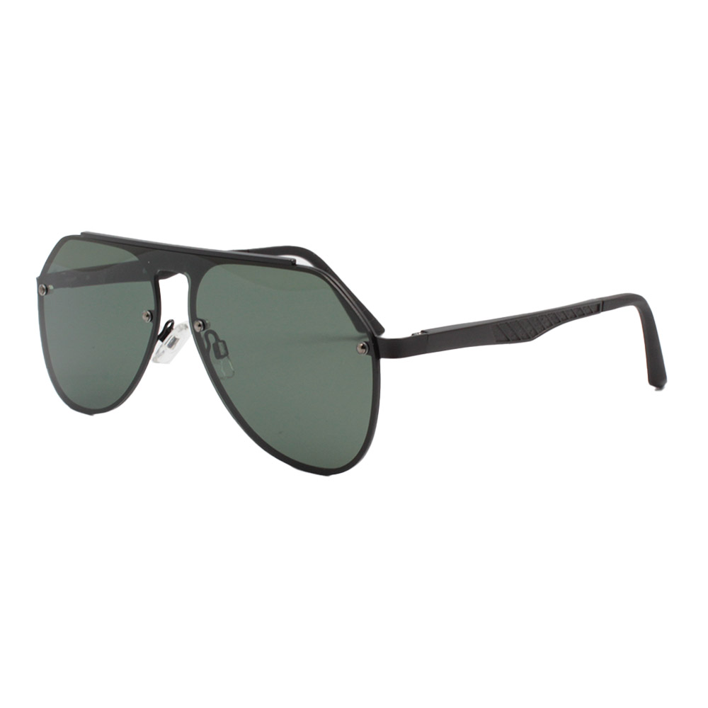 Óculos Solar Unissex Primeira Linha Polarizado 88027 Preto e Verde com Hastes de Alumínio