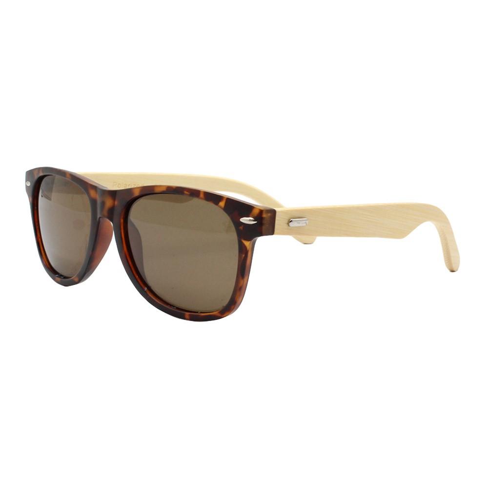 Óculos Solar Unissex Primeira Linha Polarizado HP202137P Mesclado com Hastes de Bambu
