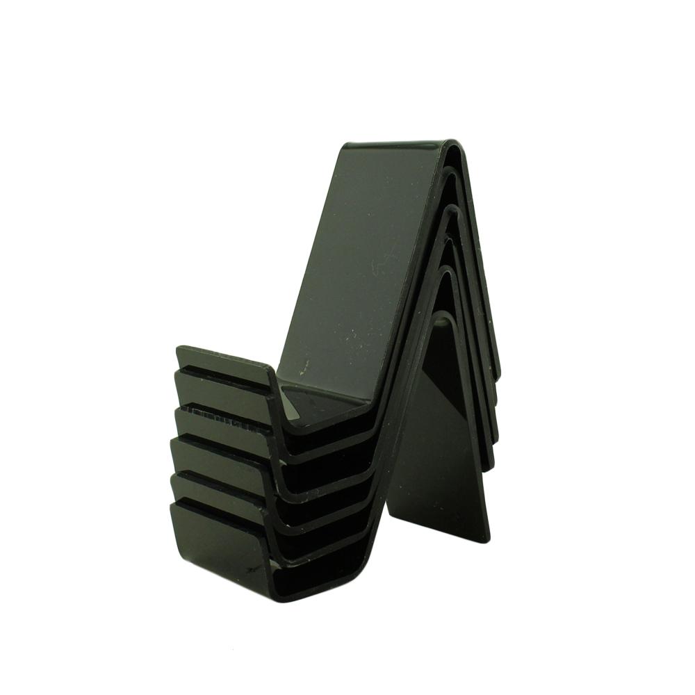 Suporte para Celular Pequeno em Acrílico PCPQ Preto com 6 Unidades