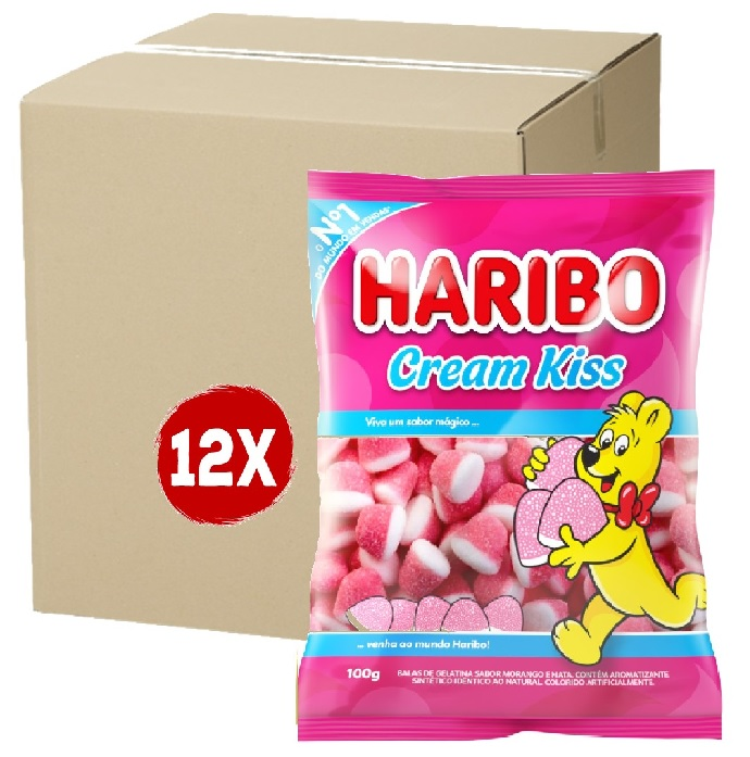 12x Bala HARIBO Cream Kiss 100g