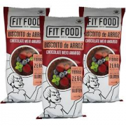 3x Biscoito de Arroz Chocolate Meio Amargo FIT FOOD 60g