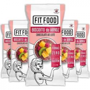 5x Biscoito de Arroz Chocolate ao Leite FIT FOOD 60g