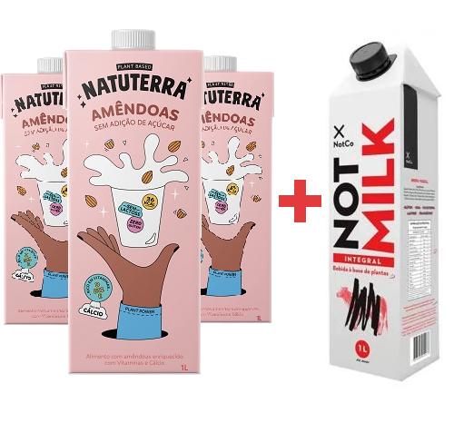 3 Leite Amêndoa NATUTERRA 1l ( Gratis Not Milk Integral 1l )