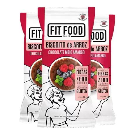 3X Biscoito Arroz Chocolate Meio Amargo FITFOOD 60g