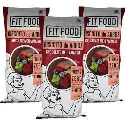 3x Biscoito de Arroz Chocolate Meio Amargo FIT FOOD 60g