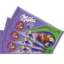 3x Chocolate MILKA Hazelnut 100g