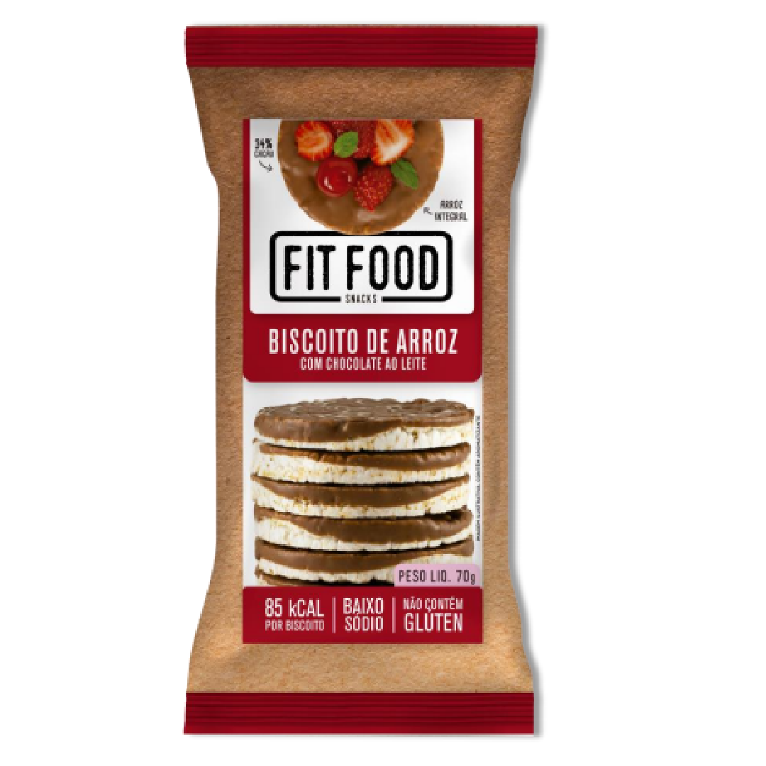 Biscoito de Arroz Choc ao Leite FIT FOOD 80g
