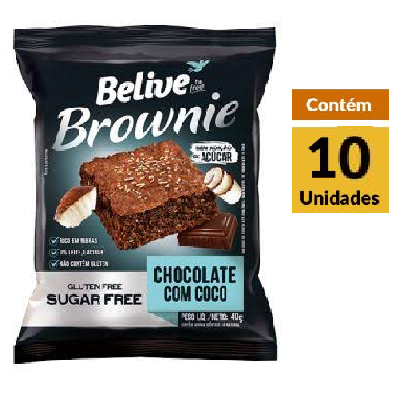 Brownie Chocolate Coco Zero BELIVE Display 10x40g