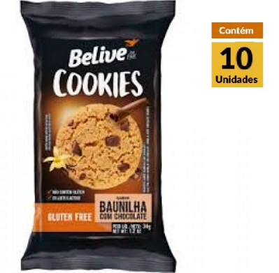 Cookies BELIVE Baunilha com Chocolate Display 10x34g