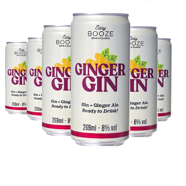 EASY BOOZE Lata Gin+Ginger 269ML (6 unidades)