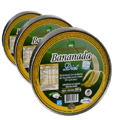 kit 3 Bananada Diet Lata SAO LOURENCO 500g
