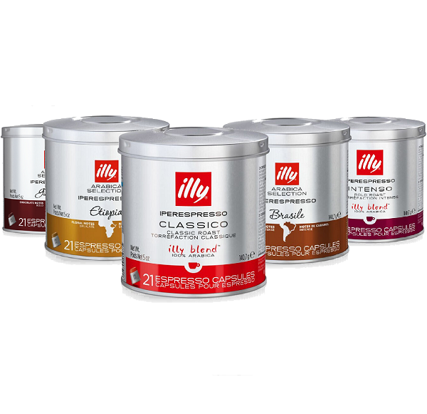 Kit 5 Tipos de Café Illy Iperesspresso 21 Capsulas