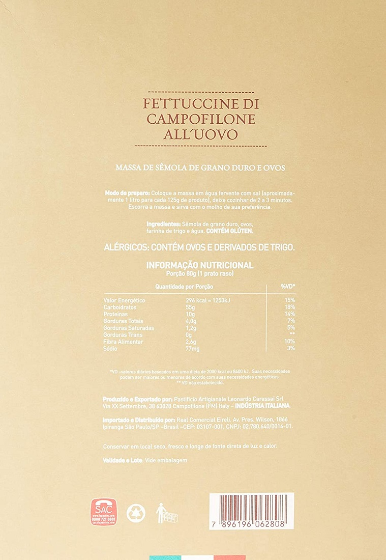 Massa FASANO Fettuccine Di Campofilone All'Uovo 200g