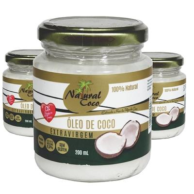 Oleo de Coco NATURAL COCO Pote 200ml ( 3 unidades )
