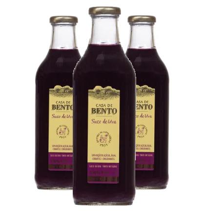 Suco de Uva CASA DE BENTO 1 Litro ( 3 unidades )