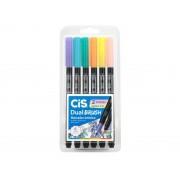 CIS Dual Brush Pen Estojo com 6 - Pastel