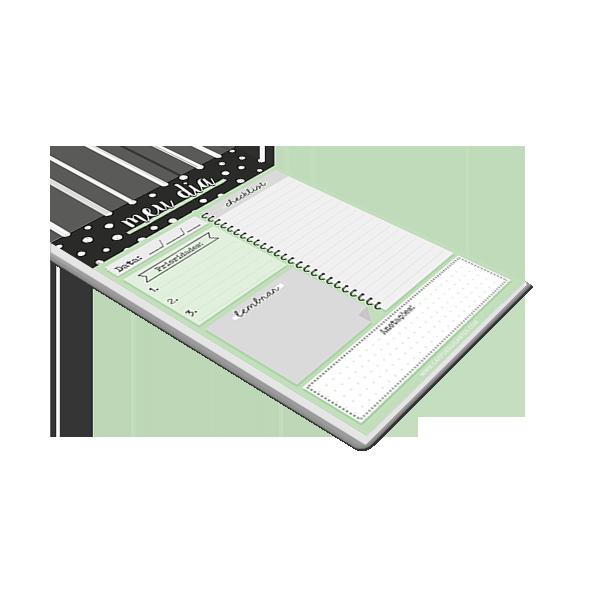 Bloco Planner Diario Preto e Verde