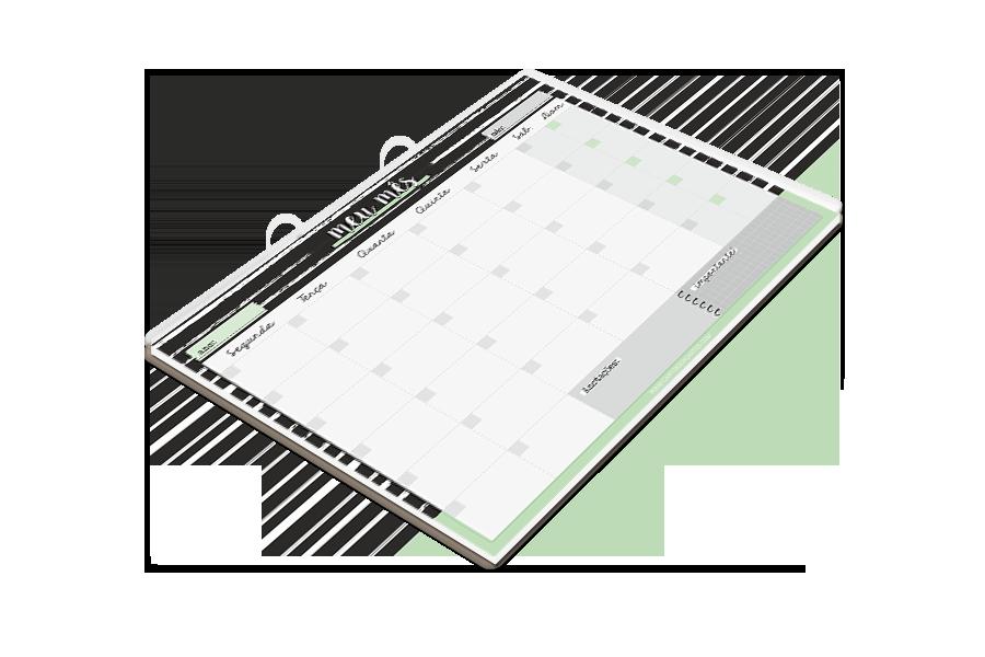 Bloco Planner Mensal Preto e Verde