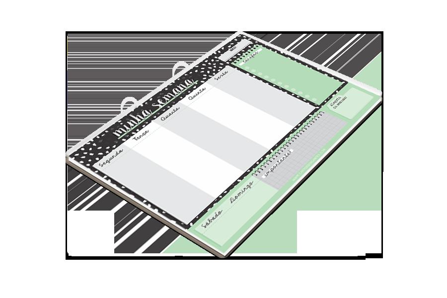 Bloco Planner Semanal Preto e Verde