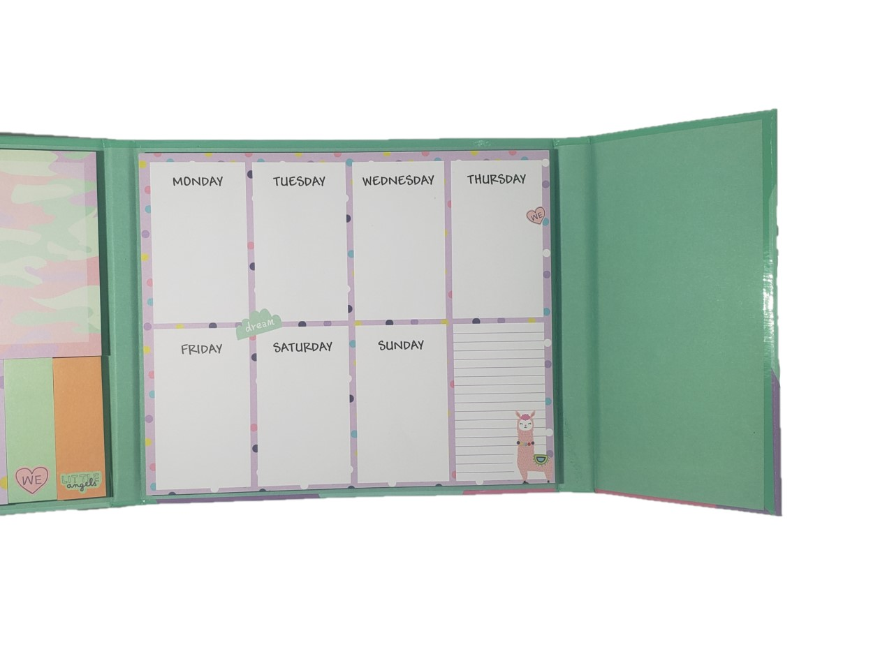 Bloco Sticky Note Lhama com Planner Semanal