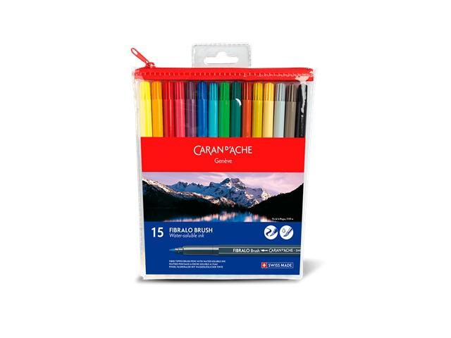 Brush Pen Caran D'Ache Estojo com 15