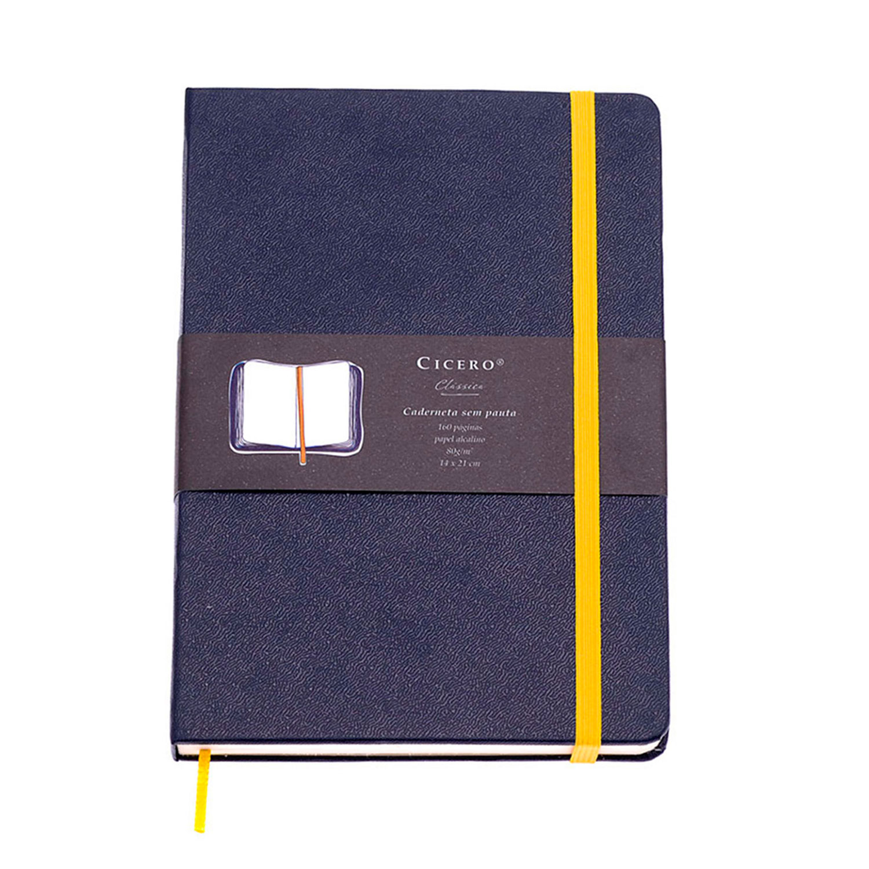 Caderneta Classica Marinho com Amarelo