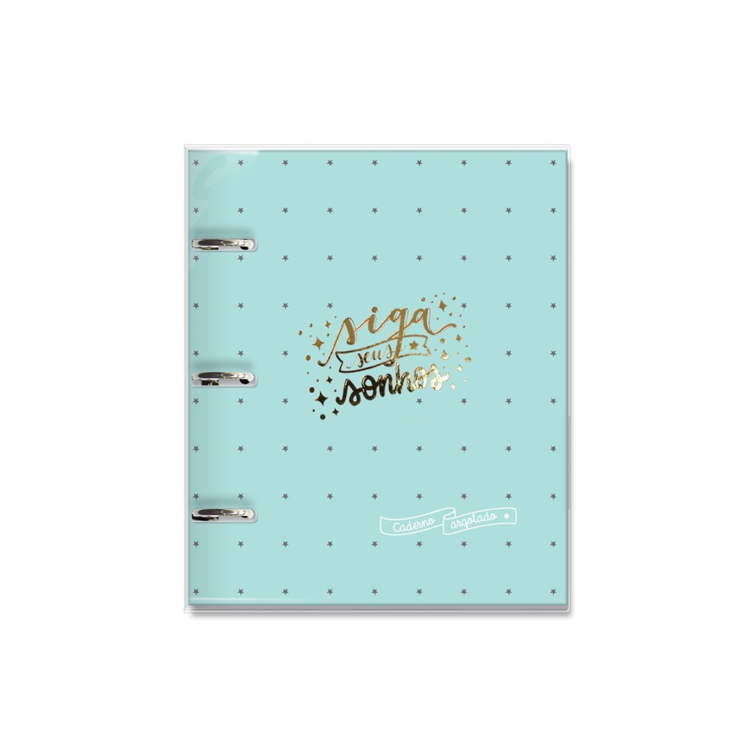 Caderno Argolado Verde Estrelas