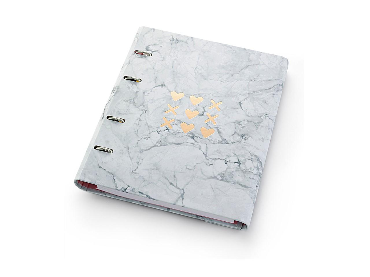 Caderno Fichário Pink Stone Mármore