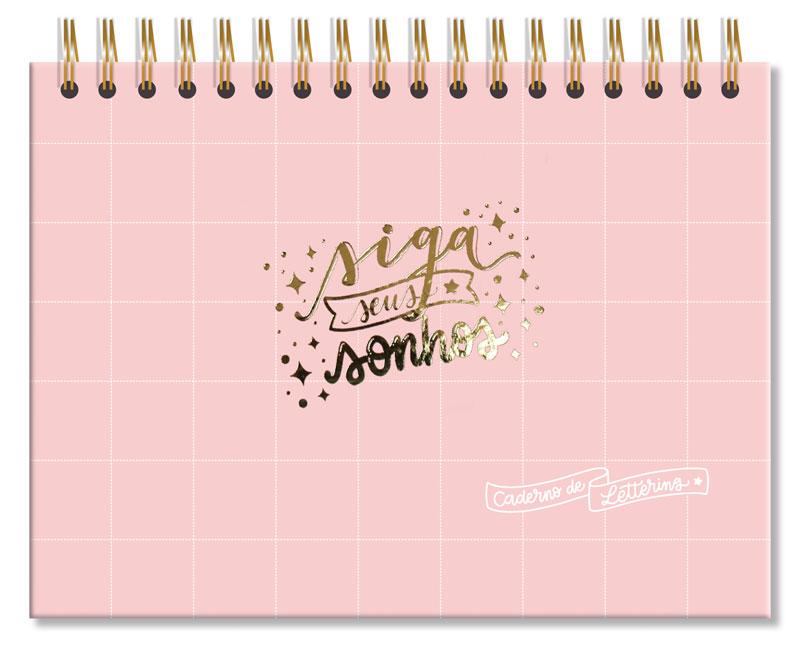 Caderno Lettering fls Pretas Rosa Quadriculado