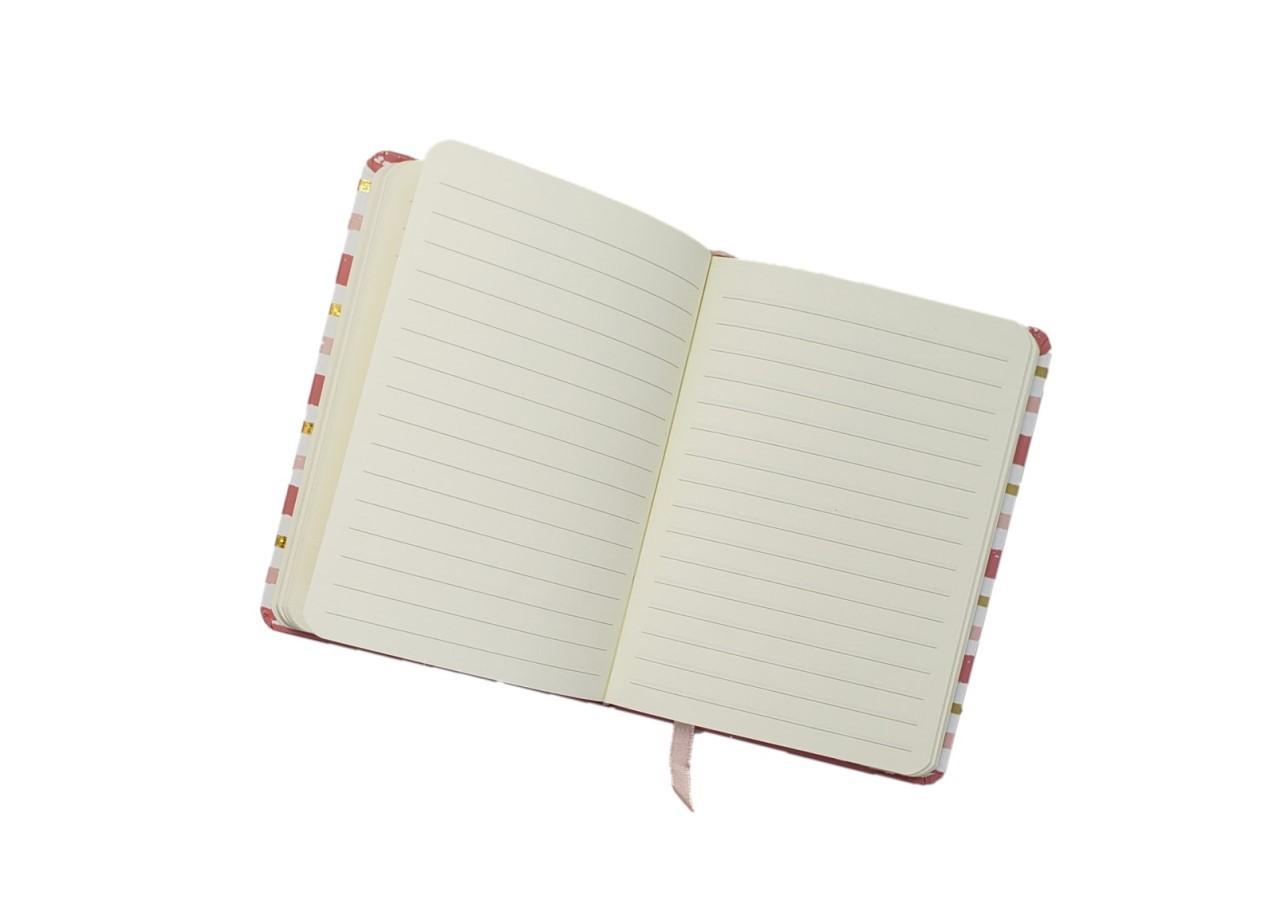Caderno Listra Rosa Dourado