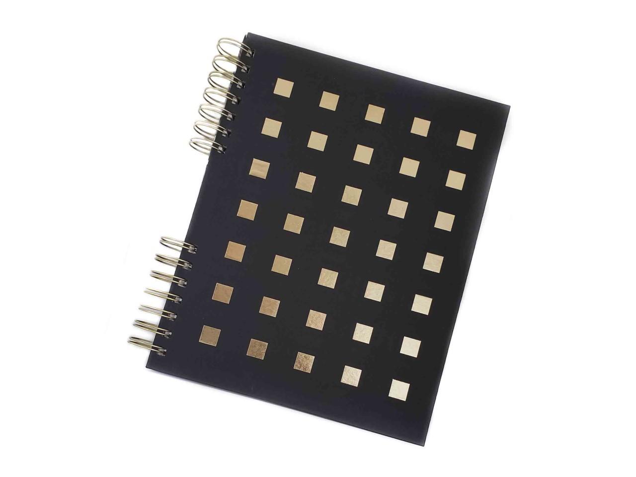 Caderno Preto e Dourado 120 Folhas Pautadas