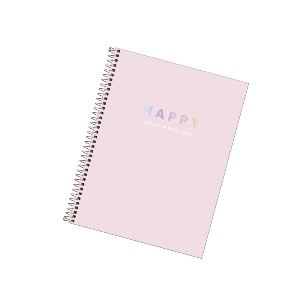 Caderno Universitário 80fls Rosa Happy