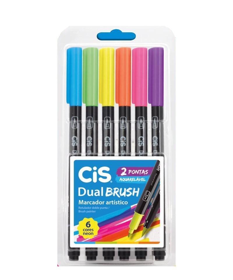 CIS Brush Pen Dual Brush Neon Estojo c/6