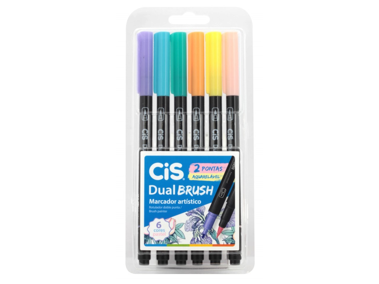 CIS Dual Brush Pen Estojo com 6 - Pastel