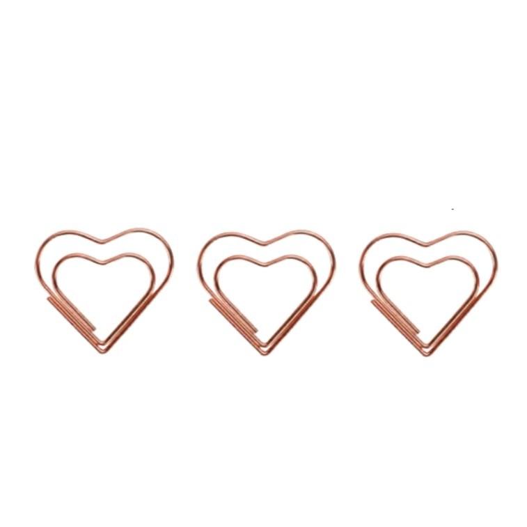 Clips Coração Rosé Gold Cx 12