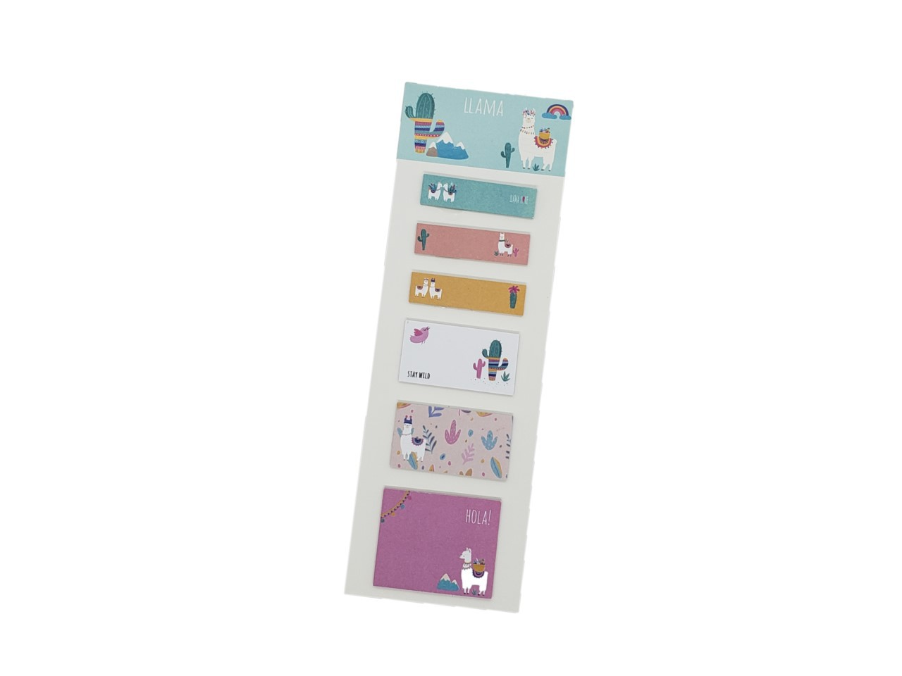 Conjunto 6 Sticky Notes Lhama Cacto