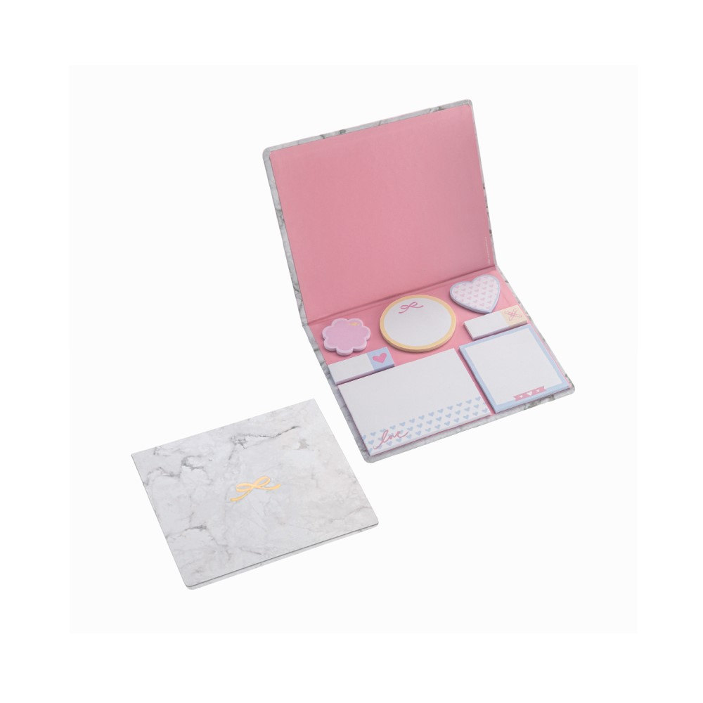 Conjunto 7 Sticky Notes Pink Stone Marmore