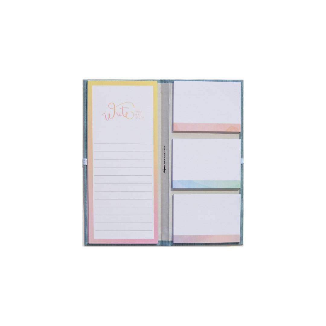 Conjunto Cotton 4 Sticky Notes Azul