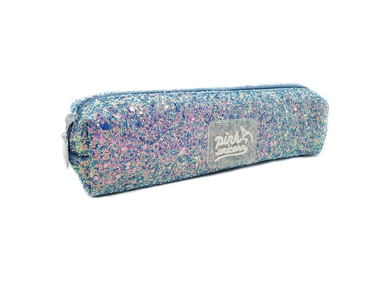 Estojo Glitter Azul Claro Bau Pink Unicornio
