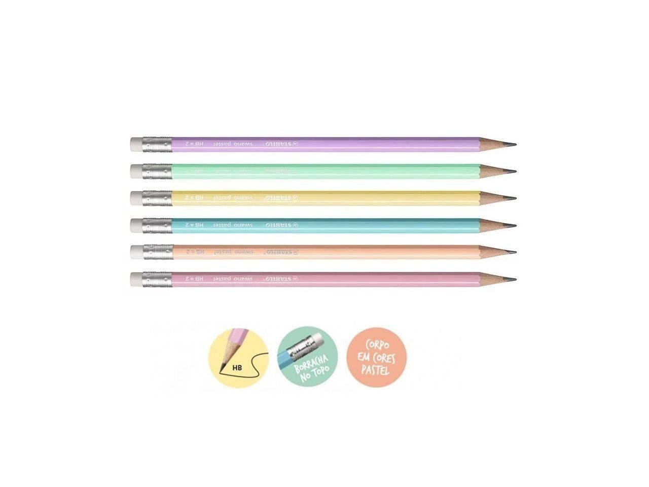 HB Lápis Swano Pastel Stabilo Kit c/3 - Rosa Azul e Amarelo