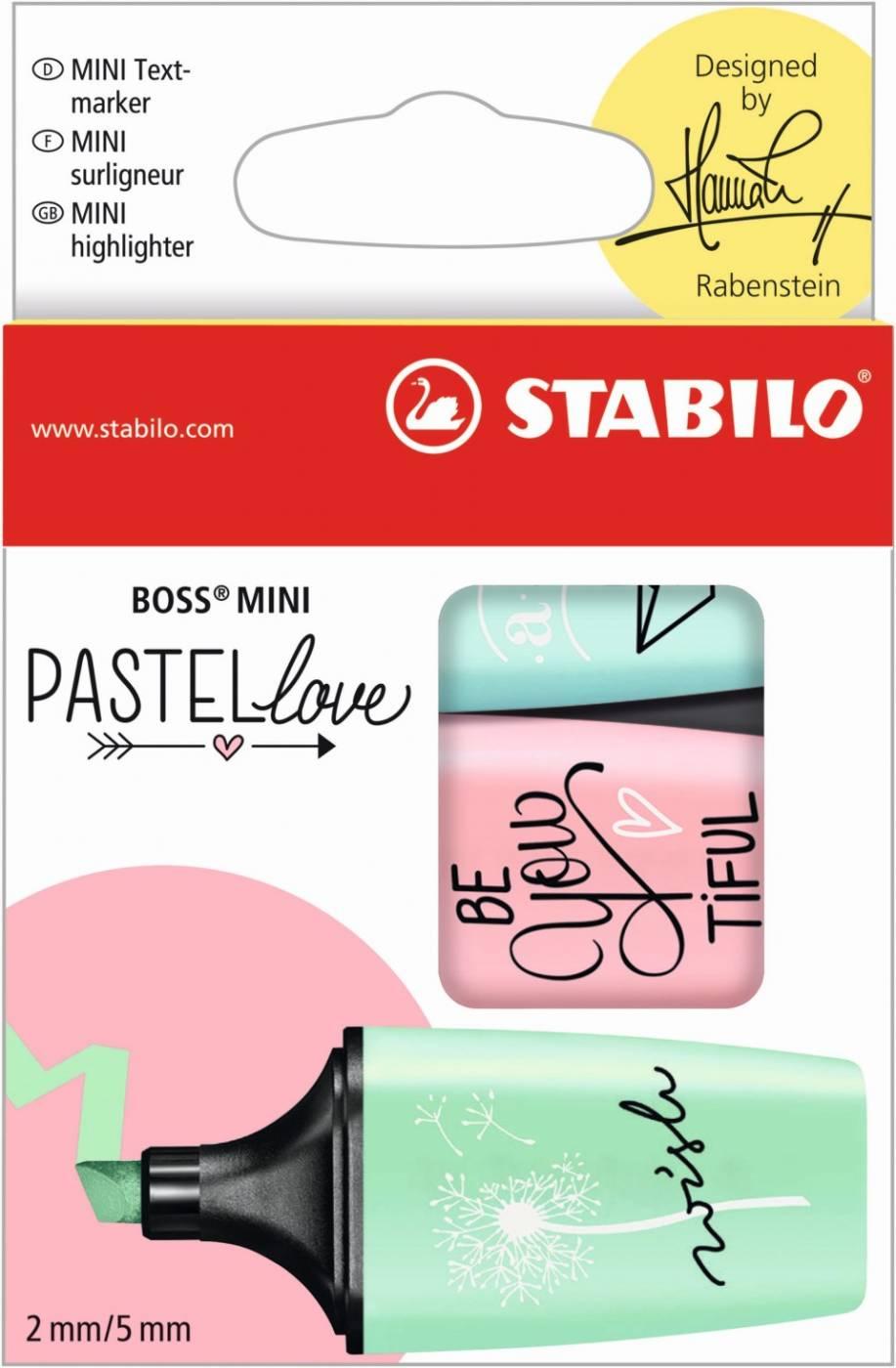 Pastel Love Mini Stabilo - Kit 3 Un Marca Texto - Verde Rosa e Azul