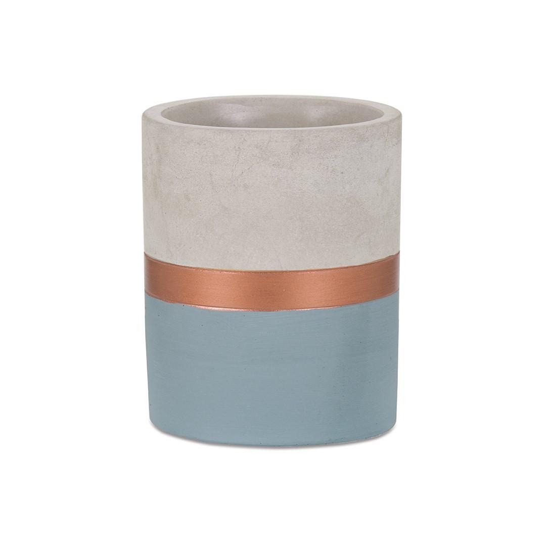 Porta Lápis Azul e Cobre em Cimento - Médio