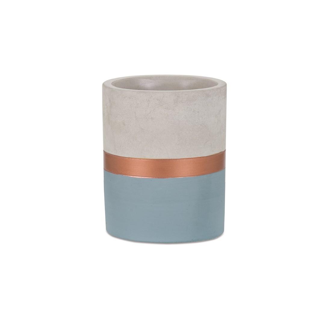 Porta Lápis Azul e Cobre em Cimento - Pequeno